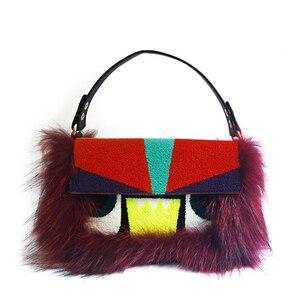 Большая сумка для глаз, три функции, натуральная кожа, кошелек с мехом, ручная сумка, сумка-тоут для женщин, 2020, зимний, через плечо, клатч коше...