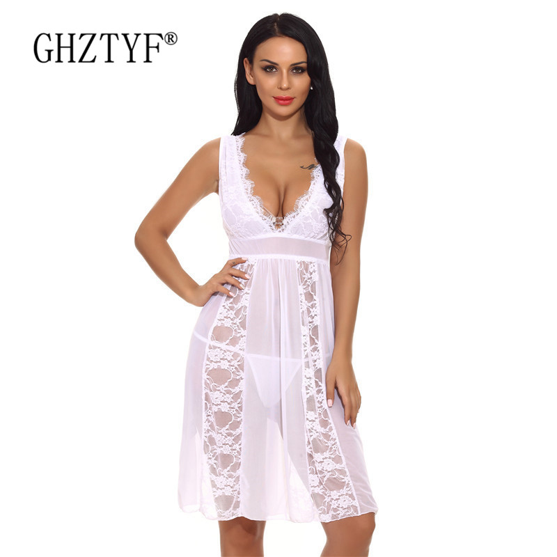 Erotic <font><b>Sexy</b></font> Lingerie XXL Lace Sex Underwear for Women Porno Transparent Nightdress Babydoll Costumes Femme Plus Size <font><b>Hot</b></font> <font><b>Dress</b></font> image