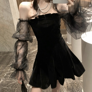Gothic Sexy Dress Vintage Off Shoulder Lanter Sleeve Mesh Patchwork Velvet Mini Dress Dark Street Grunge Black Dress For Female