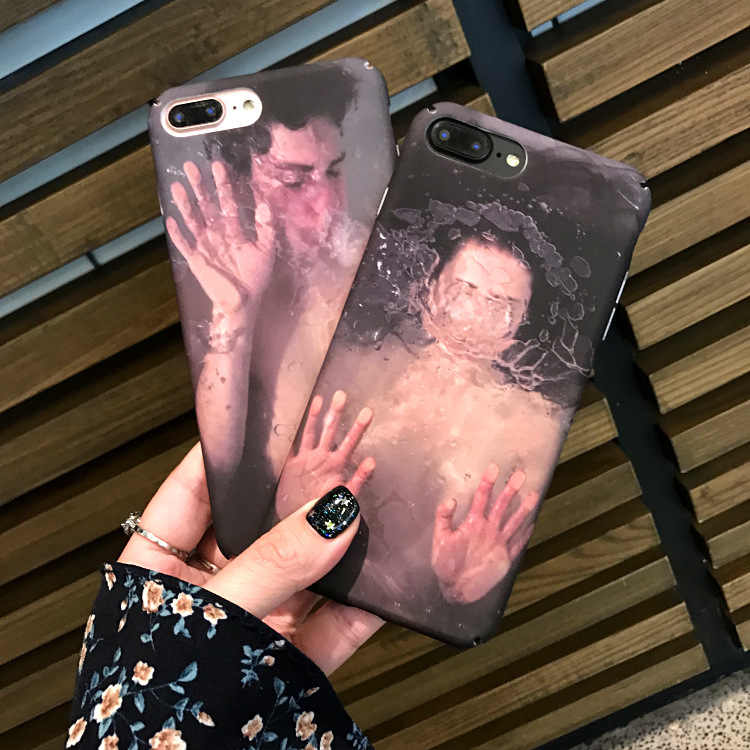 Fashion Abstract Art Underwater Boy&Girl Couple Phone case For iPhone 6 6plus PC Hard back cover For iPhone 7 Capa Coque Fundas