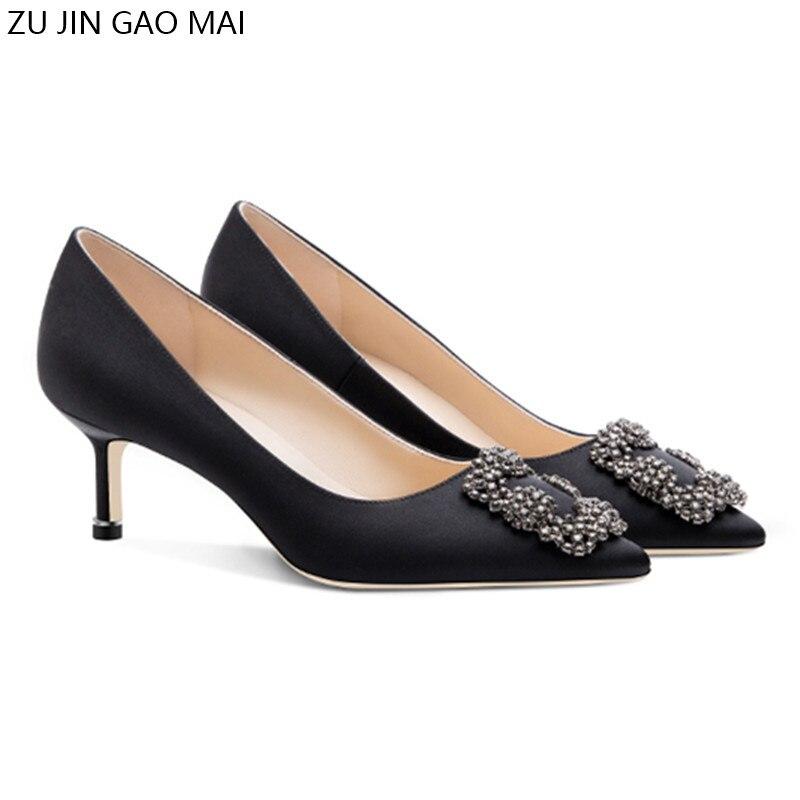 Black Rhinestones High Heels Shoes Woman Basic Pumps Satin Cloth Artificial Crystal Diamond Buckle Work Fashion Sexy Women Shoes