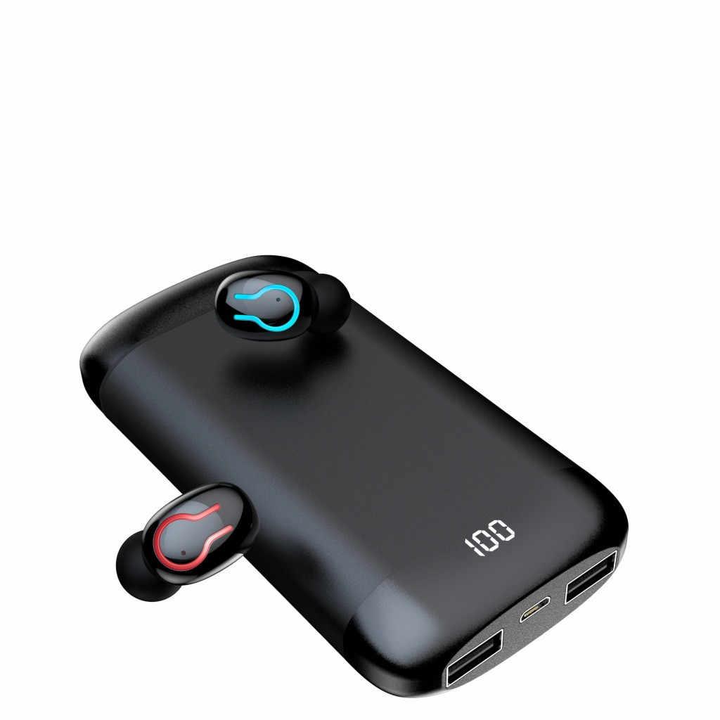Radio HIFI słuchawki Bluetooth słuchawki sportowe wodoodporne słuchawki douszne podwójny mikrofon powerbank 6000mAh Power Bank słuchawki bezprzewodowe