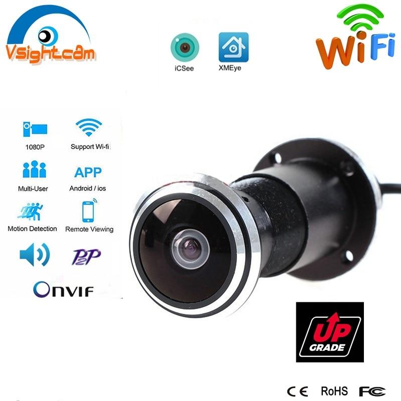 Door Eye hole IP Camera Wifi 1080P 1.78mm Wide Angle FishEye Lens CCTV Network TF Card Audio Camera P2P Onvif