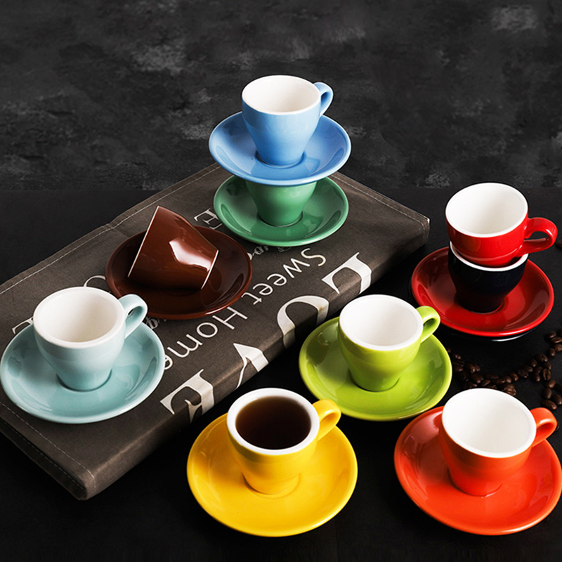 80ml Espresso <font><b>Coffee</b></font> Mug <font><b>Set</b></font> Colored Glaze Ceramic <font><b>Coffee</b></font> <font><b>Cup</b></font>&Saucer Home Kitchen Accessories Drinkware kahve fincan takimlari image