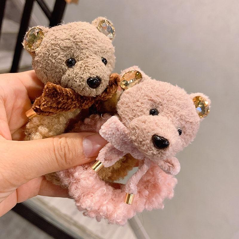Adult Women Elastic Hair Bands Korean Handmade Cartoon Bear head Bow knot Head Wear Accessories Fall Winter-ED-W13
