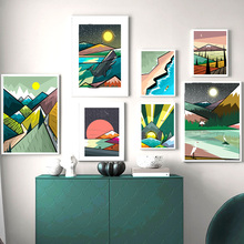 Colorful Anime landscape Illustration Sun Wall Art Canvas Painting Nordic Posters And Prints Pictures Baby Kids Room Decor