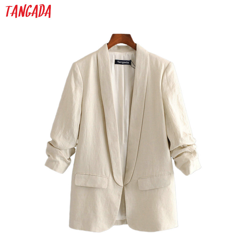 Tangada Women Vintage Solid Cotton Blazer Female Long Sleeve Elegant Jacket Ladies Work Wear Blazer Formal Suits 3H451