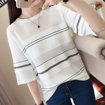 New Thin White T Shirt Women Striped Tshirt Female Knitted 2020 Summer Short Sleeve Black T-Shirt Woman Clothes Tee Shirt Femme embroidered striped sleeve tee
