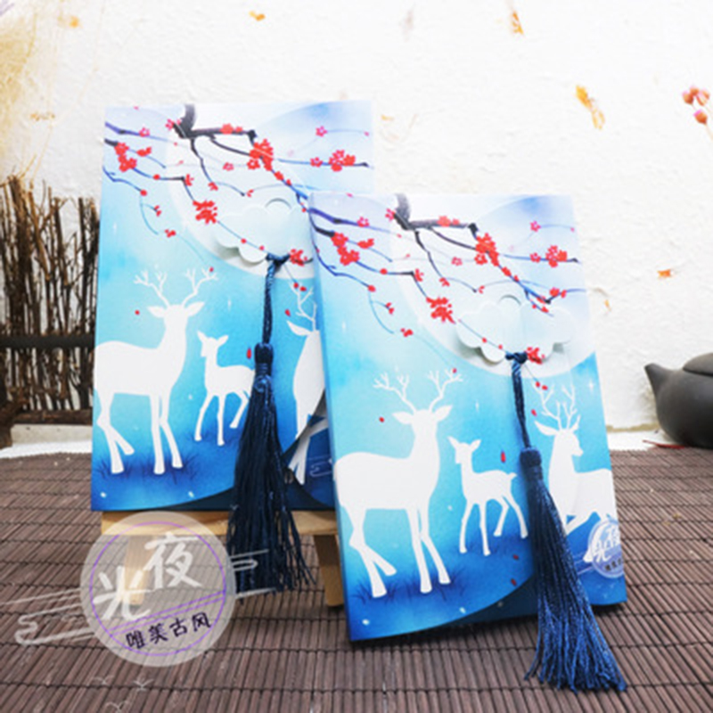 Su Yue Fang Postcards China Vintage-postcards Special Hand-painted Christmas Reindeer Night Light Festival Suit Card Postcard