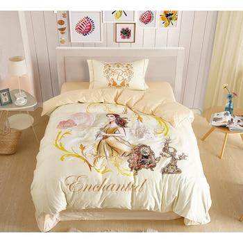 Disney Princess Beauty and the Beast 3D Printed Cream Bedding Set for Girls Children Birthday Gift Cotton Duvet Cover Pillowcase