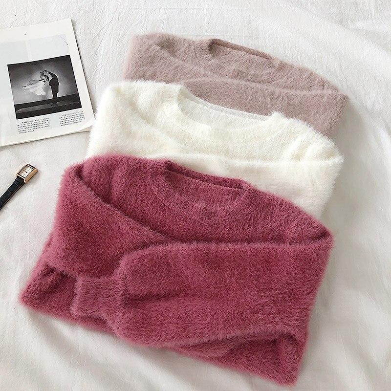2020 New Winter Korean Chic Solid Elastic Lantern Long Sleeve Sweater Wild   Imitation Mink Wool Warm Sweater Female