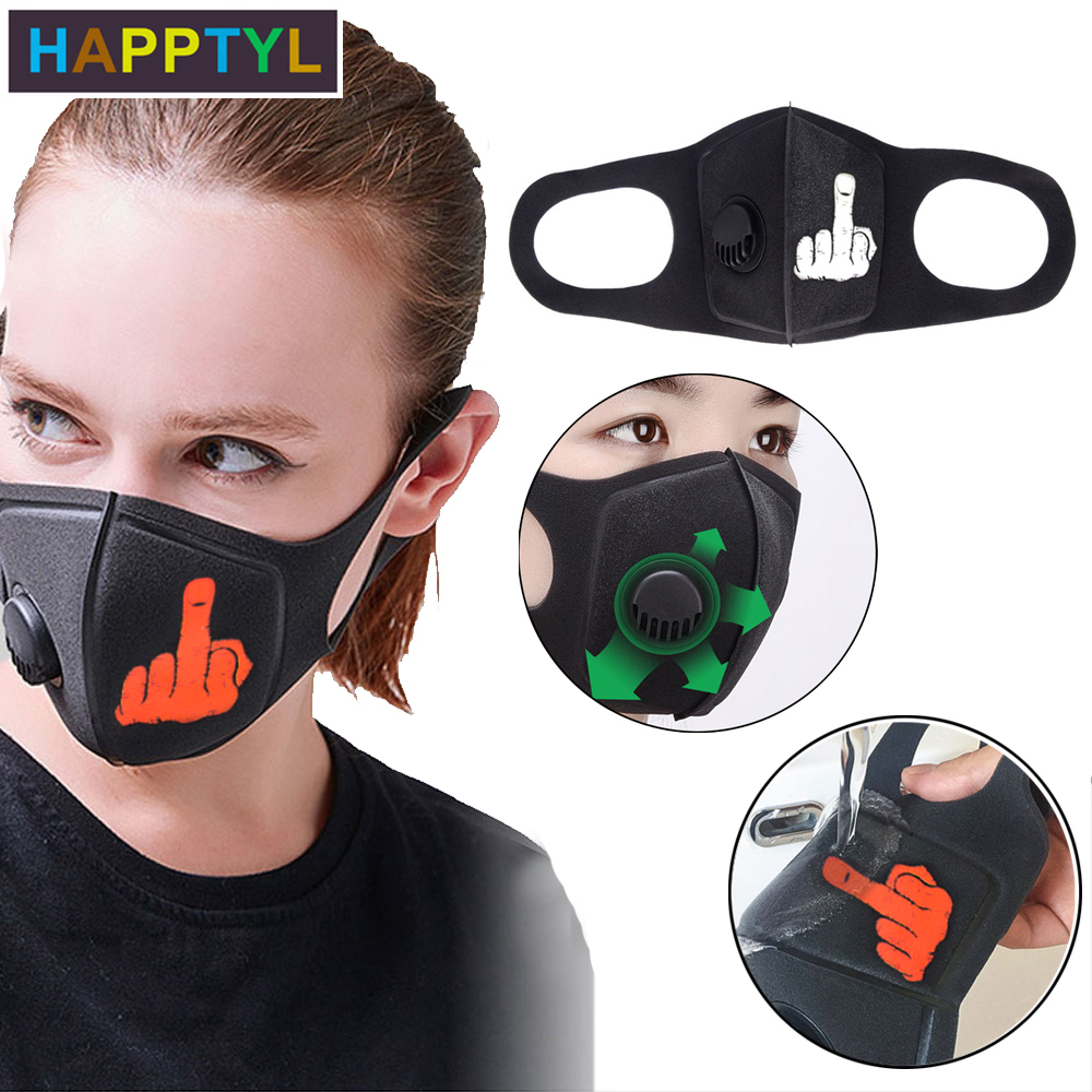HAPPTYL Pollution Mask Middle Finger Anti Air Dust And Smoke Pollution Mask With Adjustable Straps And Washable Respirator Mask