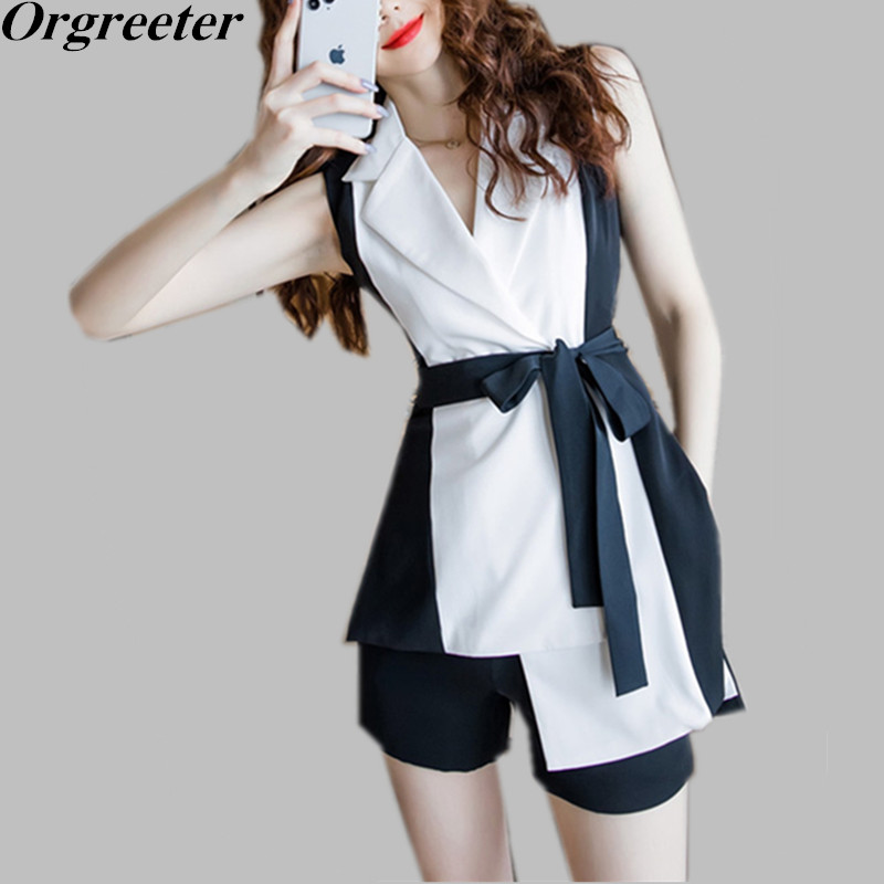 Summer New Two-piece Sets Women Temperament Notched collar Sleeveless Hit color Long Shirt Blouse and Shorts Professional Suits