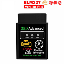 Super Mini Elm327 Bluetooth OBD2 V1.5 Elm 327 V 1.5 OBD 2 Car Diagnostic-Tool Scanner Elm-327 OBDII for Android Code Reader