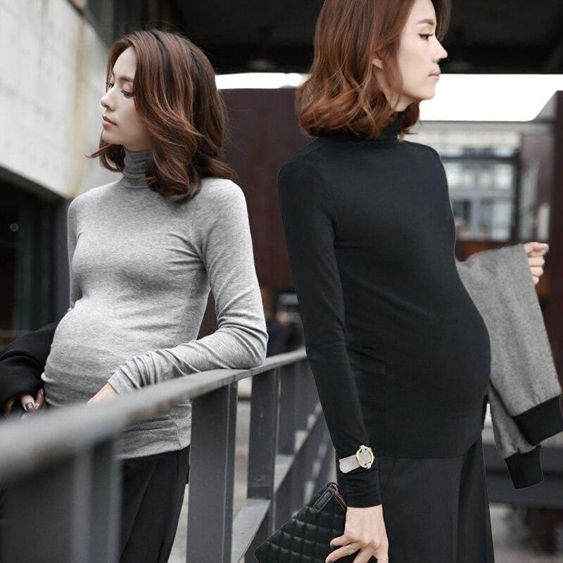 Приталенная рубашка для беременных женщин с высоким воротником и длинными рукавами; футболка с круглым вырезом; тонкая одежда для