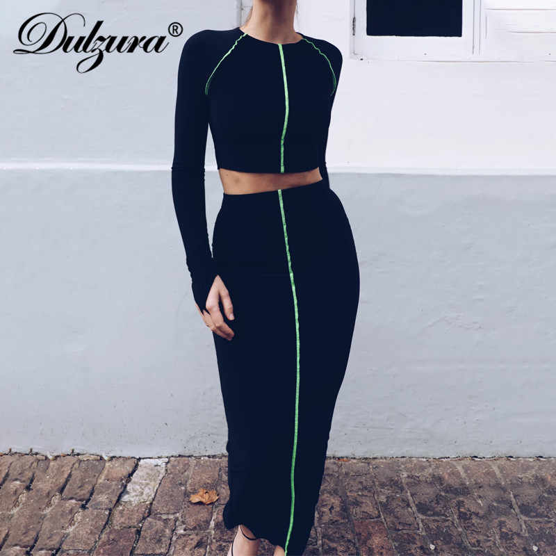 Womens Long Sleeve Ladies Bodycon Crop Top Pencil Midi Skirt Co-Ord Set 2 Piece