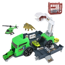 Dinosaur Transport Car Carrier Truck Toy with 3 Dinosaurs 3 Matchbox Cars and 1 Helicopter for 3 4 5 Year Old Boys