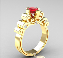 Exquisite Gold Red Crystal Wedding Ring Bridal Engagement Jewelry Anniversary Gift Fashion Gold Ring Christmas Gifts exquisite gold red crystal engagement ring women s cocktail party ring bridal engagement wedding ring anniversary gift jewelry