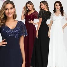 Vestidos de noite longo sempre bonito ez0706 elegante azul marinho a linha manga curta chiffon rendas bordados vestidos de festa para o casamento