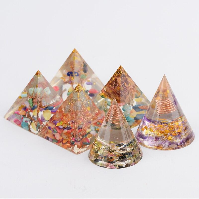 1 adet organik taş piramit silikon kalıp reçine dekoratif el sanatları takı, doğal kristal kristaller Reiki piramit çakra ev Deco
