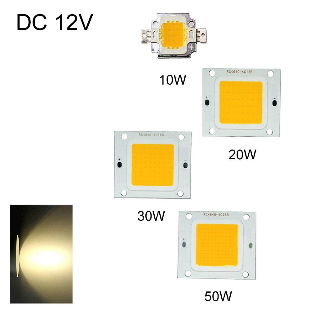 LED Chip 10W/20W/30W/50W DIY High Power Bulb Beads New Warm White Home COB 12V Flood Light Super Bright