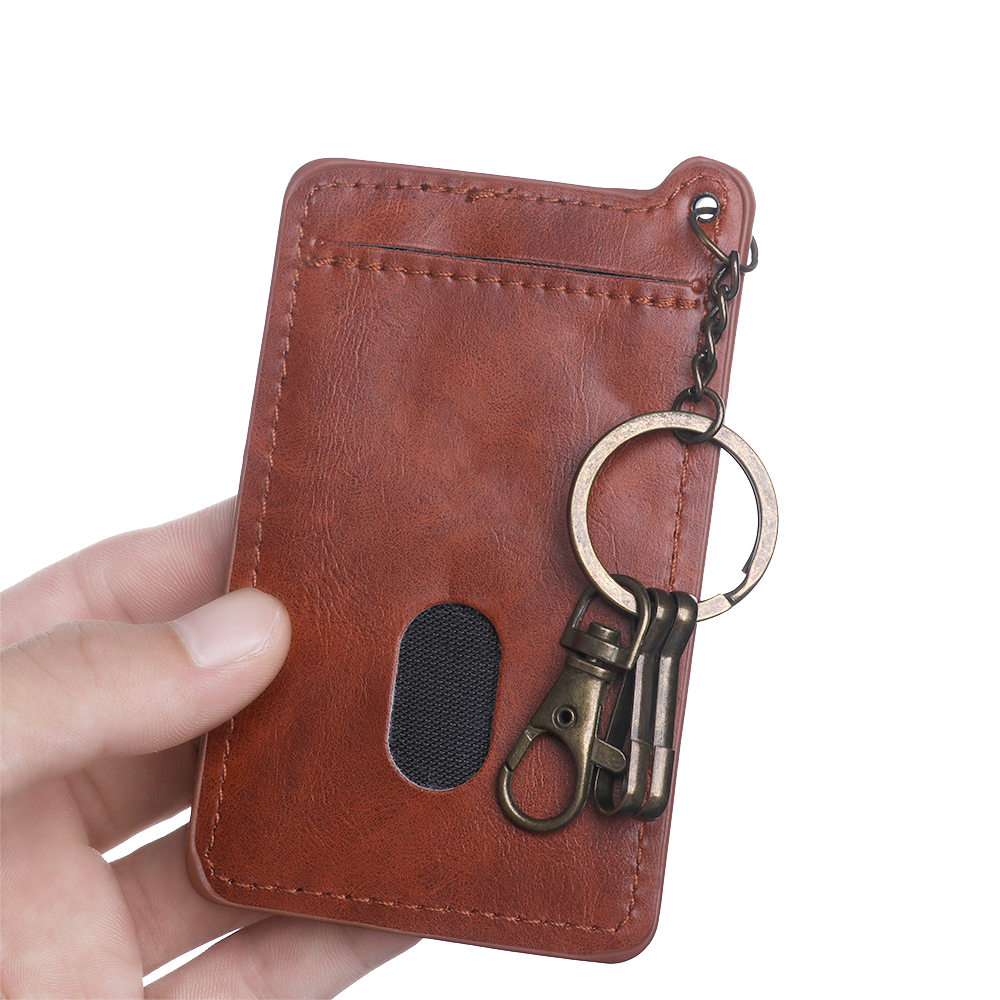 Fashion New Card Holder For Men Women Retro Business Card Bag Quality PU Leather ID Credit Card Holders With Key Ring Keychain