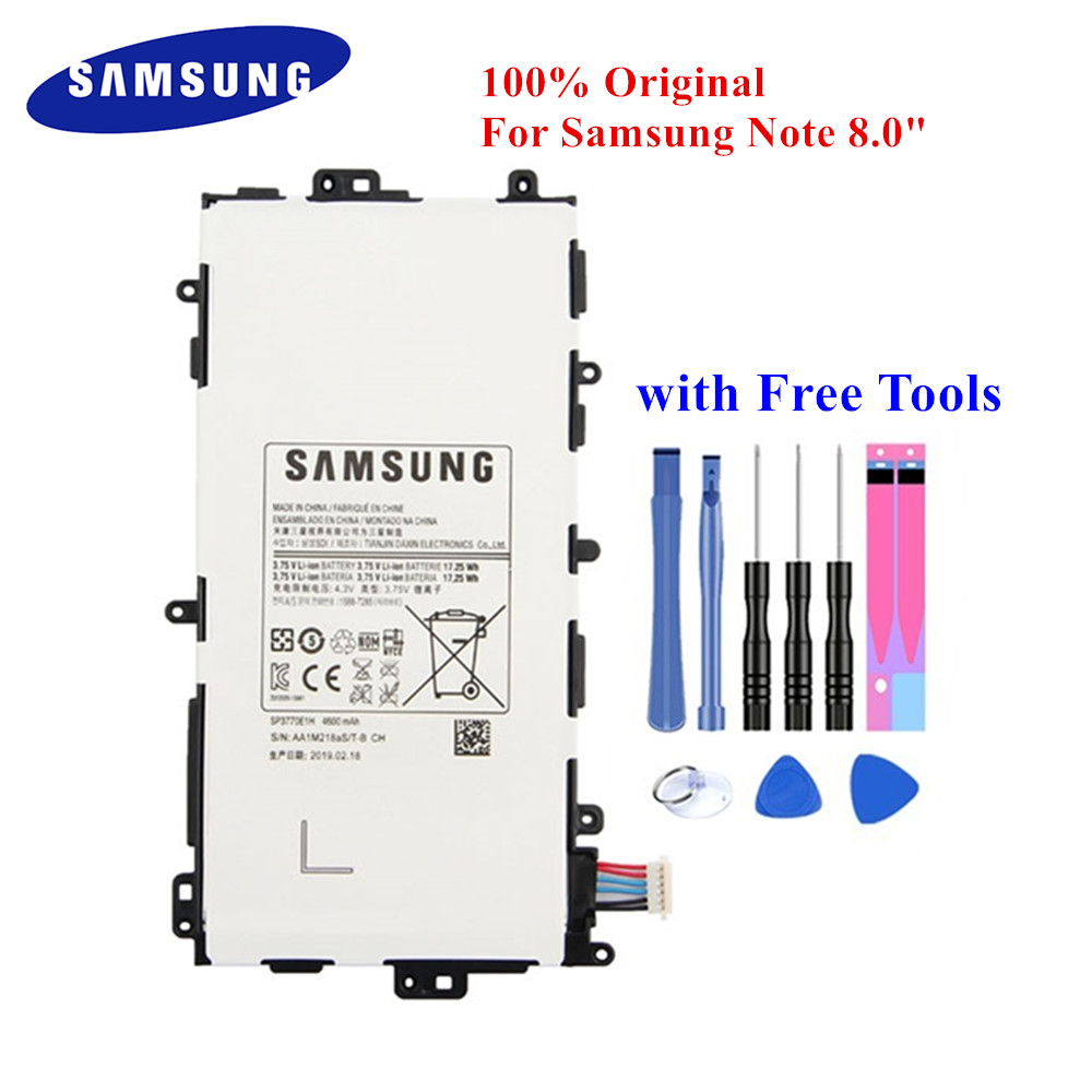 Original Tablet Battery SP3770E1H For Samsung Galaxy Note 8.0 GT-N5100 N5110 N5120 4600mAh Real Capacity PC Akku +Tools