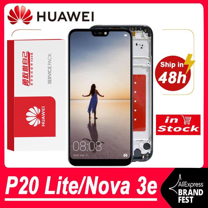 Оригинальный 5,84 ''ЖК-экран Замена для Huawei P20 Lite / Nova 3e, ЖК-дисплей, сенсорный экран, дигитайзер, для сборки, ANE-LX1 ANE-LX3 + логотип