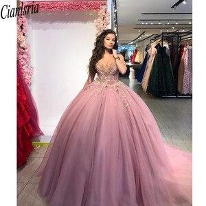 Image 4 - נסיכת מאובק ורוד כדור שמלת Quinceanera שמלות כבוי כתף טול שרוולים מתוק 16 שמלות עם אפליקציות חרוזים