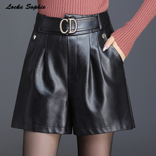 1pcs High waist Women's Plus size leather shorts 2