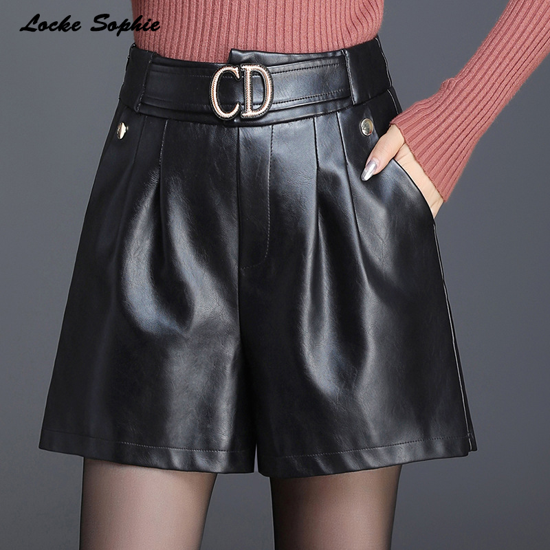 1pcs High Waist Women's Plus Size Leather Shorts 2020 Autumn New Fashion PU Leather Faux Big Pocket Shorts Ladies Loose Shorts