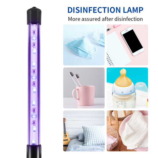Disinfection Lamp Black UVC UVA light LED beads USB Disinfection Light Rechargeable Ultraviolet UV Sterilizer Light