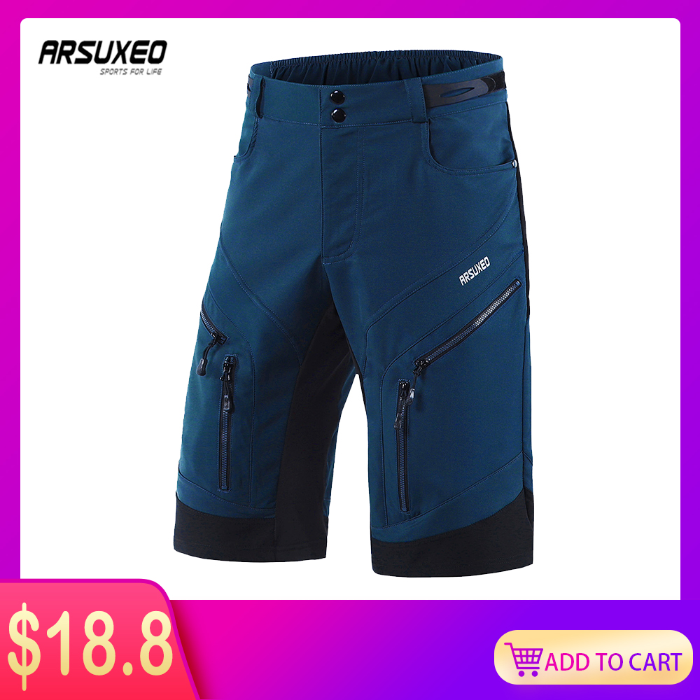 ARSUXEO Men's Cycling Shorts Loose Fit Bike Shorts Outdoor Sport Shorts MTB Mountain Bicycle Short Pants Water Resistant 1903