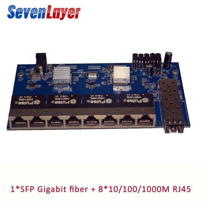 10/100/1000M 8 RJ45 1 Sfp Fiber Gigabit Ethernet Switch 1F8E Fiber Optical Media Converter Single Mode PCBA BOARD