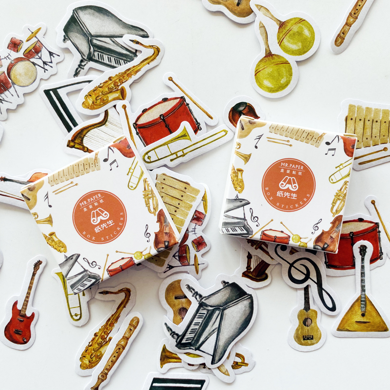 40pcs/Pack Cute Musical Instrument Paper Stickers DIY Decorative Sealing Paste Stick Label Stationery Kids Gift 20 Designs