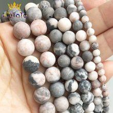 Grânulos De Pedra naturais Maçante Polonês Matte Pink Zebra Jaspers Rodada Beads Para Fazer Jóias DIY Pulseira Acessórios Brincos 15