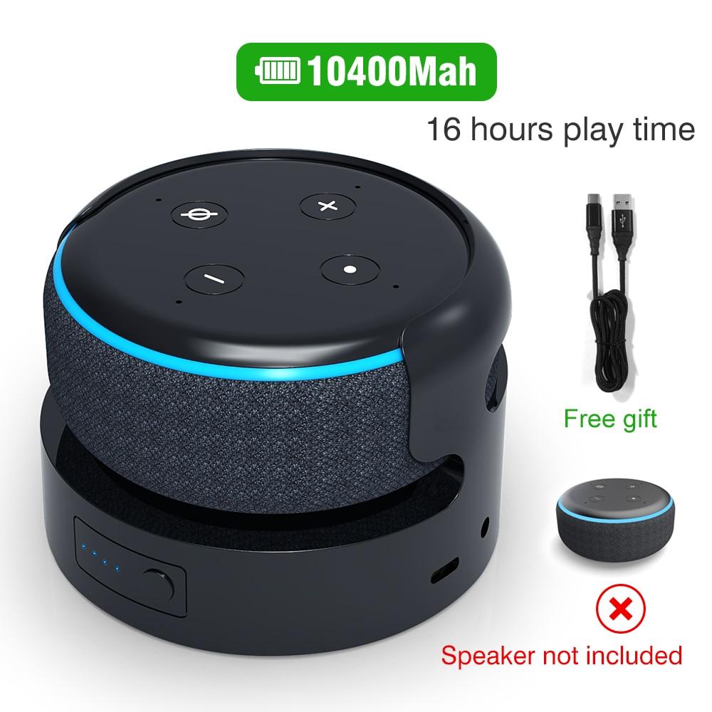 База для аккумулятора Echo Dot 3rd Battery Alexa Speaker, держатель для аккумулятора, зарядное устройство для Echo Dot 3, 16 часов воспроизведения