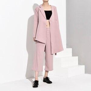 Image 3 - LANMREM 2020 חדש אופנה סדיר V צווארון תחבושת בלייזר + Loose רחב רגל מכנסיים לנשים אביב נשי של 2 חתיכות סט YG62111