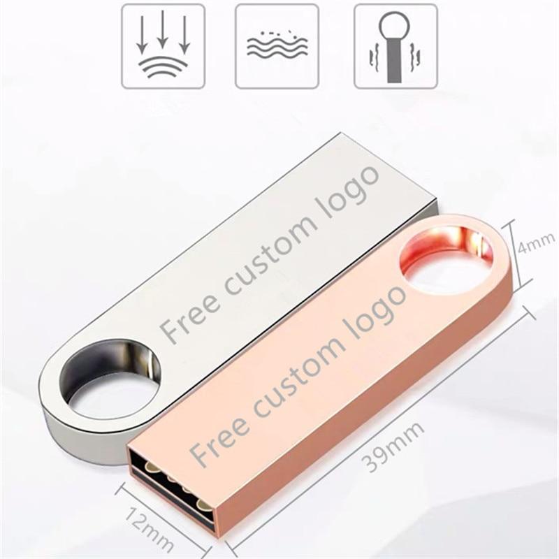 Metal USB flash drive 128GB 64GB pendrive 32GB memory stick 16GB 8GB u disk 4GB pen drive cle usb 2 0 flash disk Free print logo in USB Flash Drives from Computer Office