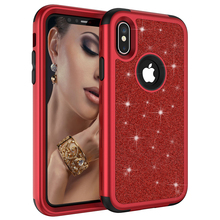 For iPhone XS XR Glitter Silicon PC Back Case iPhone 6 7 8 Safe 3 in 1 Shockproof Phone Case Back Cover for Apple iPhone XS Max glow in the dark protective pc back case for iphone 6 4 7 transparent purple
