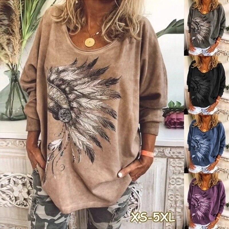 Women New Spring Tshirt Print Feather Long Sleeve T Shirt Shirts Fashion Casual Apparel T-Shirt Female Plus Size Loose Tops Tees