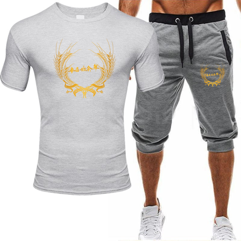 Printed Tracksuits 2020 Men's Sports Coat Set Sport Shirt Men Running Shorts 2pcs Gym Suit For Soccer Fitness Men Sportswear