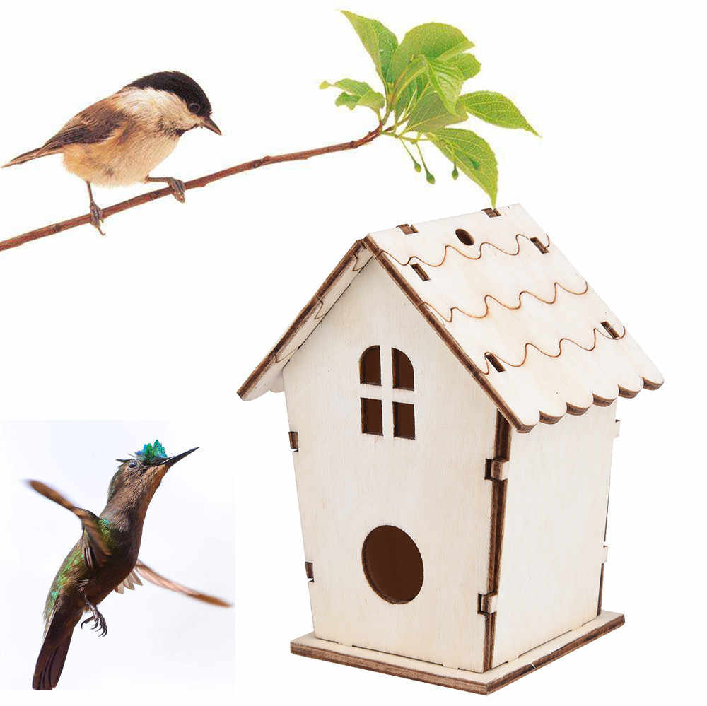 1 PC Nest House BIRD DOX BIRD BIRD Bird Nest House BIRD BIRD BIRD Creative Wall-MOUNTED กลางแจ้ง Birdhouse ไม้กล่อง