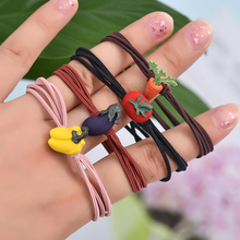 Euhra Paint Pendant Polyester Rubber New Arrival Strawberry carrot Elastic Hair Bands For Womens and Girls Kids Accessorie
