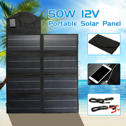 Portabel Lipat 50W 12V USB Port Panel Tenaga Surya/Solar Panel Papan Lipat Solar Panel Charger Baterai Ponsel Charger di Luar Ruangan