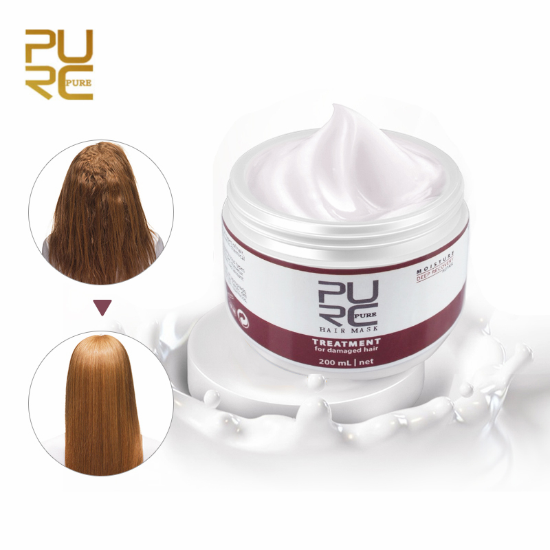 PURC Natural Keratin Hair Mask Deep Repair Damage Dry Hair Eliminates Frizzy Hair Conditioner For Womens Hair Care Product 200ML