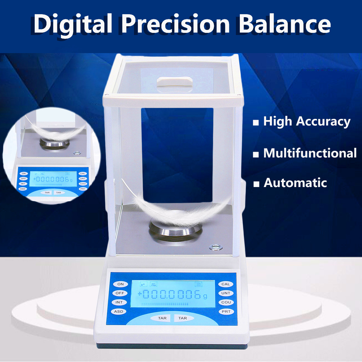 ZEAST 200g/0.1mg Ultra Precision Electronic Balance LCD Digital Electronic Scale Pan Weighing Scale For Lab Measurement Analysis