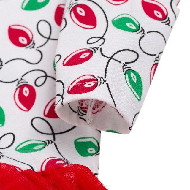 2Pcs Cute Baby Girl Long Sleeve Christmas Theme Pattern Romper Dress+Headband Skirt Outfits Christmas Costume 3