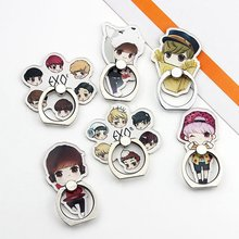 1PC Cute Cartoon EXO Acrylic Phone Holder Fashion Keychain Phone Accessories Cute Boys Shaped Pendants For Iphone Xiaomi Huawei(China)