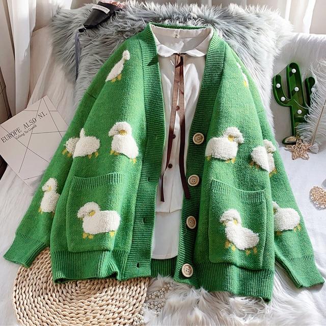 Autumn Winter Knitted Female Cardigan Loose Streetwear Knit Sweater Coat Cute Cartoon Print V Neck knitted cardigan Women Jacket 3